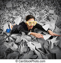 Bureaucracy sea - Businesswoman with mask swims between the...