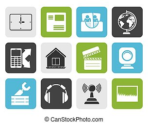 Mobile phone and computer icons - Flat Mobile phone and...