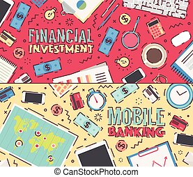 Set vector financial investment mobile banking - Set of flat...