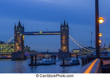 Tower Bridge and Thames by night