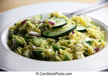 Orzo Salad - Freshly made orzo salad with cucumber, parsley,...