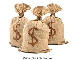 Dinheiro, sacolas