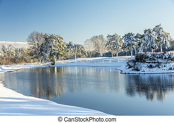 Snowscape - Snow covered land with a pond reflecting the...