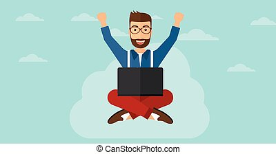 Man sitting on cloud with laptop. - A happy businessman with...