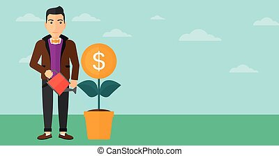 Man watering money flower. - A man taking care of finances...