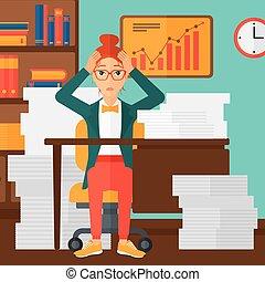 Despair woman espair sitting in office. - A woman in despair...