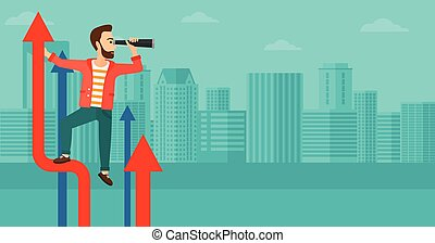 Man with spyglass on rising arrow. - A businessman standing...