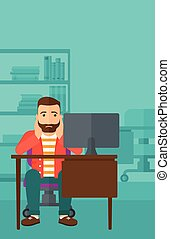 Tired employee sitting in office - A tired hipster man with...
