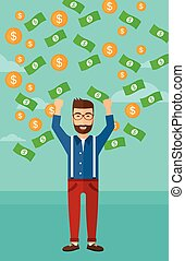 Happy man with flying money - A hipster man with raised...
