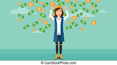 Happy woman with flying money. - A woman with raised hands...