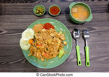 Pad thai - Yummy pad thai served with soup and chilli