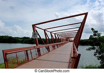 Red iron bridge in Punggol, Singapore