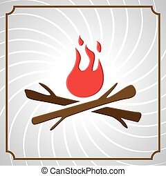 bonfire - vintage frame with wood and fire