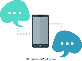 Mobil chat - process of mobile chatting. EPS 10