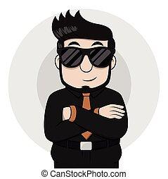 Businessman wearing black suit