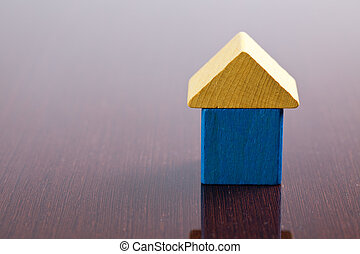 wooden toy block house
