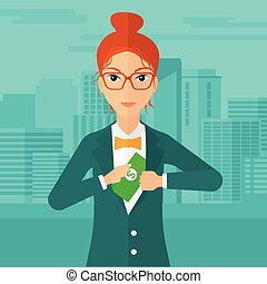 Woman putting money in pocket. - A woman putting money in...