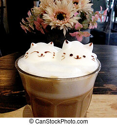 Front view of 3D latte art - Coffee topped with 3D latte art...