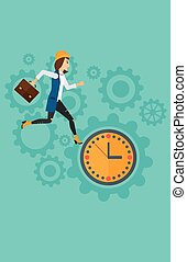 Running woman on clock background.