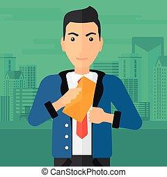 Man putting envelope in pocket.