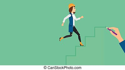 Woman running upstairs - A woman running up the stairs drawn...
