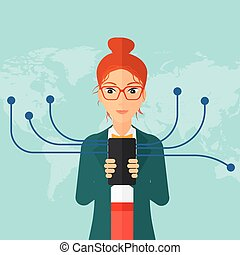 Woman using smartphone - A woman holding smartphone...