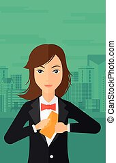 Woman putting envelope in pocket - A business woman putting...