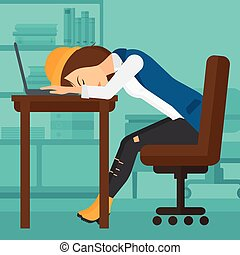 Woman sleeping on workplace - Tired employee sleeping at...