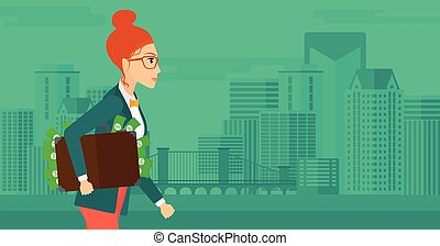 Woman with suitcase full of money - A woman walking with...