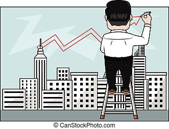 Businessman drawing city with red marker