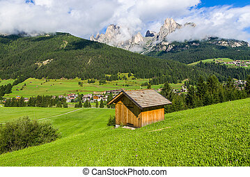 Panorama of Fassa Valley - Idyllic mountain panorama during...
