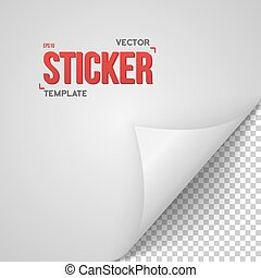 Vector Paper Sticker. Realistic Bended Page White Sticker Vector