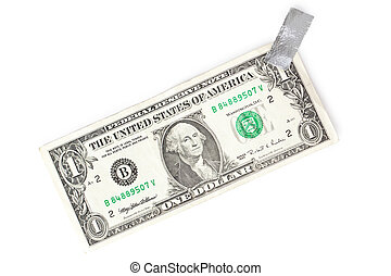 paper currency and tape on white background