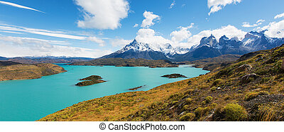 torres del paine national park - amazing panorama view at...