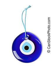 blue turkish eye on white background
