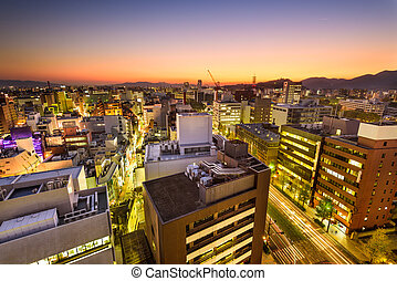Downtown Kumamoto, Japan - Kumamoto, Japan downtown city...