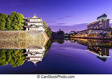 Nagoya Castle Moat - Nagoya, Japan castle moat at twilight