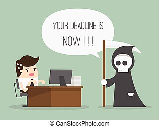 Deadline. Cartoon Vector Illustration