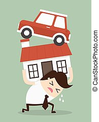 Debt. Cartoon Vector Illustration
