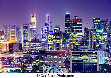 Singapore Financial District skyline at night