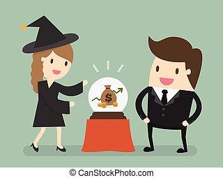 Female Fortuneteller - Stock forecasting. Businessman sees...
