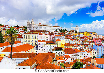 Alfama in Lisbon - Lisbon, Portugal town skyline at the...