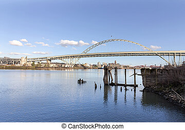 Fremont Bridge with Blue Sky - Fremont Bridge against blue...