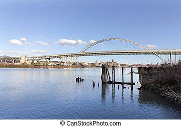 Fremont Bridge with Blue Sky - Fremont Bridge against blue...