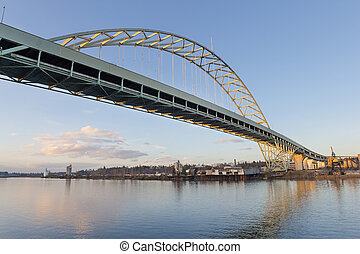 Fremont Bridge over Willamette River in Portland Oregon...