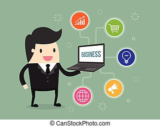 media - businessman holding laptop with business icon