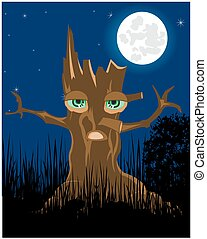 Terrible stump in the night