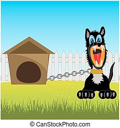 Irritating dog on chain - Vector illustration of the cruel...
