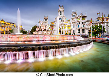 Madrid Spain Fountain - Madrid, Spain at Plaza de Cibeles.