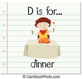 Flashcard letter D is for dinner
